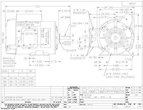 marathon f103 farm duty high torque motor single phase capacitor start 3 4 hp 1800 rpm 115 208 230v 11 0 5 4 5 5 amp electric motors amazon com