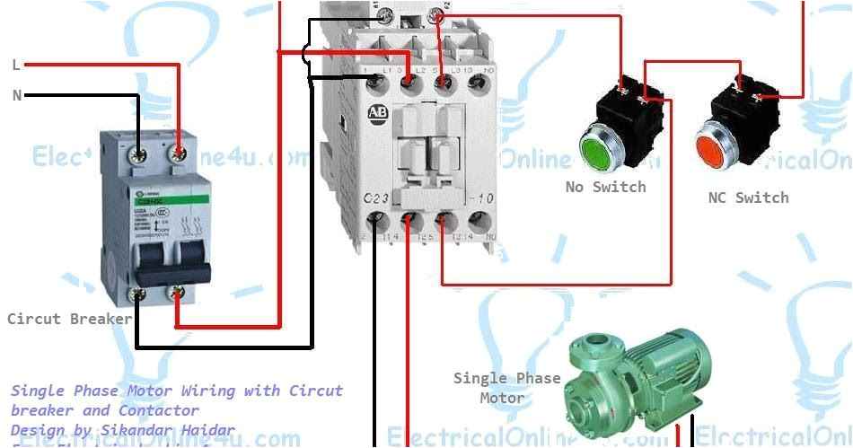 single phase motor wiring with contactor diagram woodworking in circuit diagram wiring a contactor