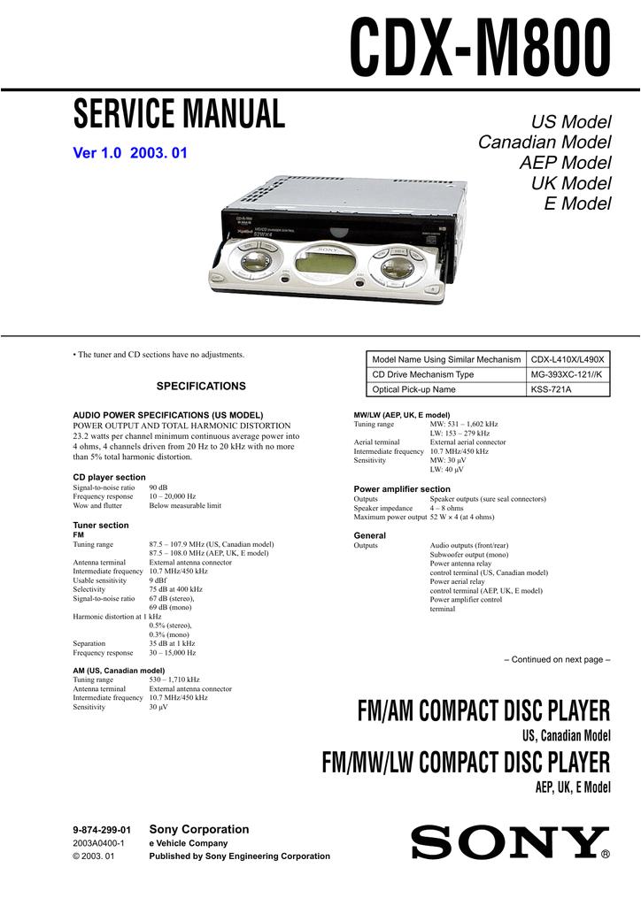 sony xplod cdx m800 user s manual