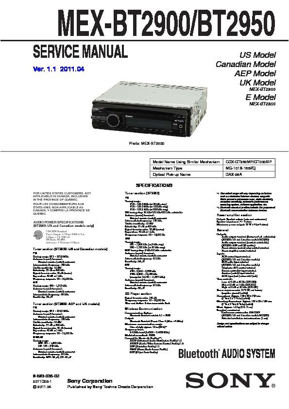 Sony Mex Bt2900 Wiring Diagram sony Car Audio Service Manuals Page 19