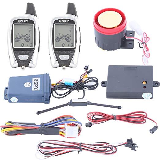 quality spy 5000m lcd display 2 way motorcycle alarm system with remote engine start microwave sensor amazon co uk car motorbike