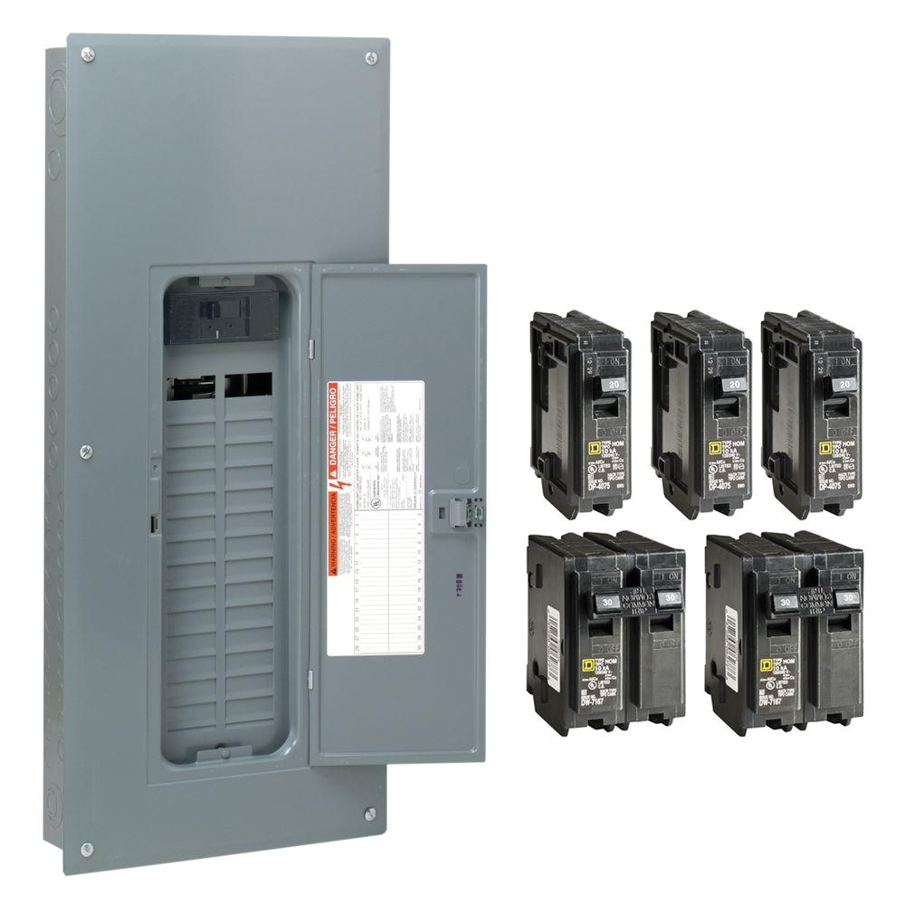 square d homeline 200 amp 30 space 60 circuit indoor main breaker plug on neutral load center with cover value pack hom3060m200pcvp the home depot