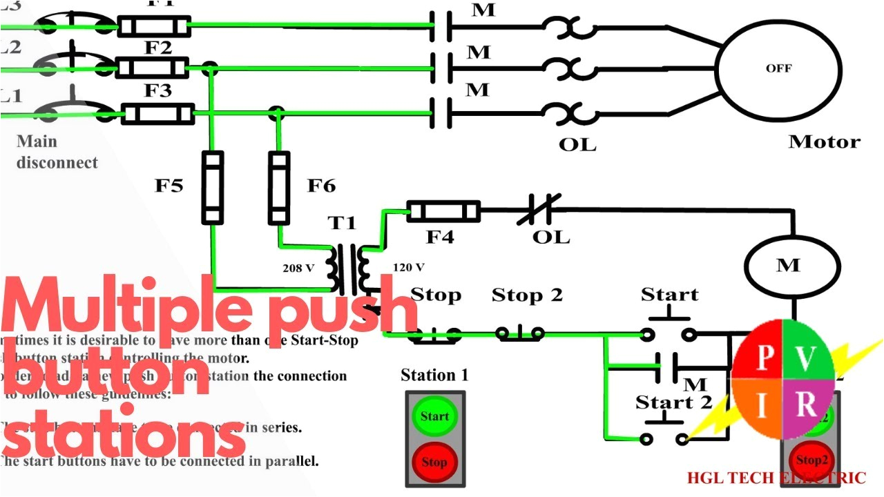 multiple push button stations three wire control multiple stations circuit diagram start stopsquare d start stop