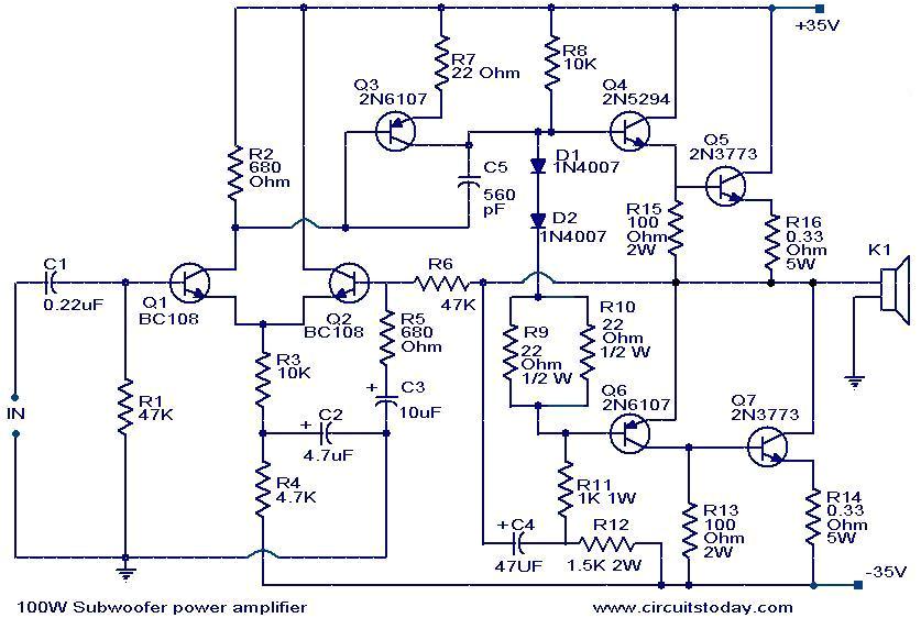 100 watt sub woofer amplifier working and circuit diagram 100 w subwoofer amplifier circuit