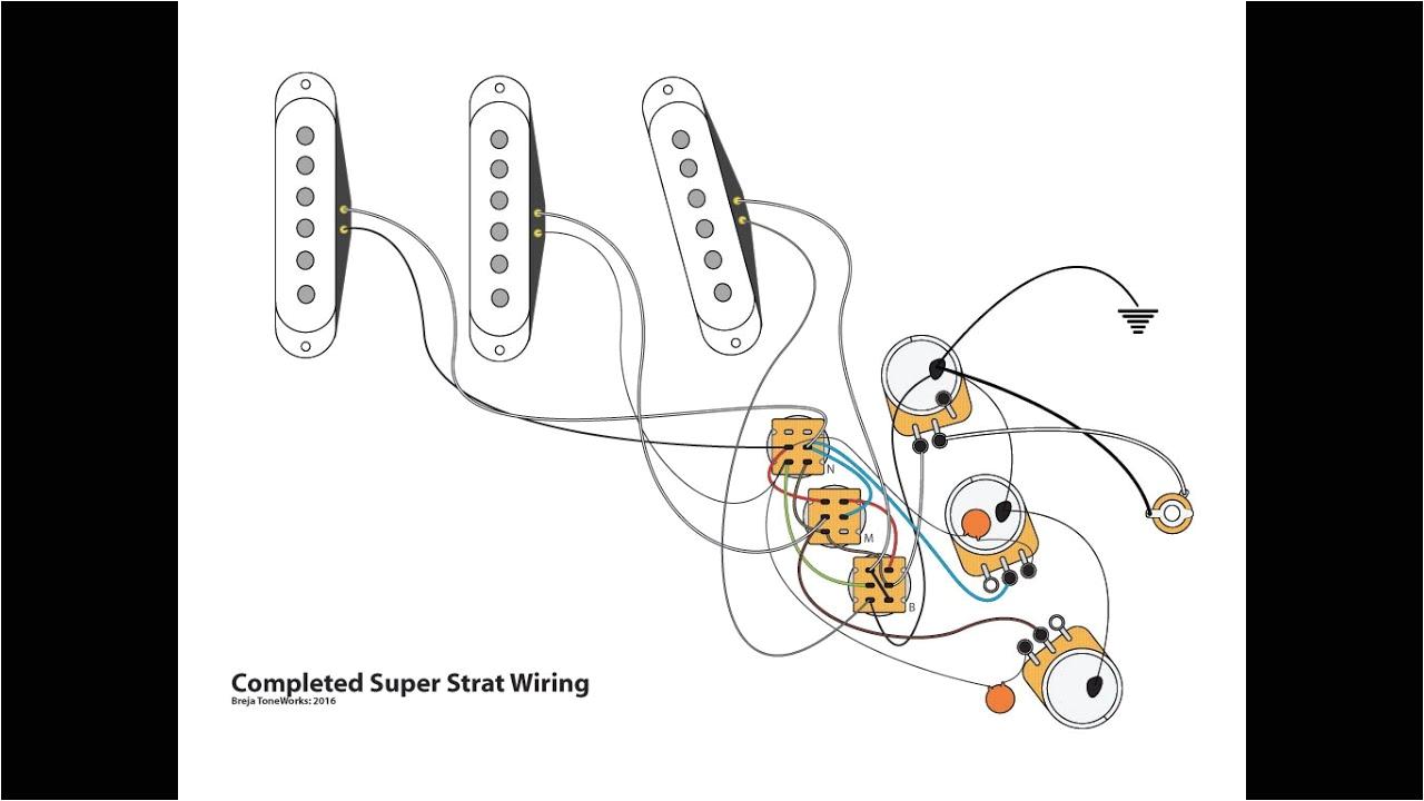 super strat wiring with 1 volume 1 tone
