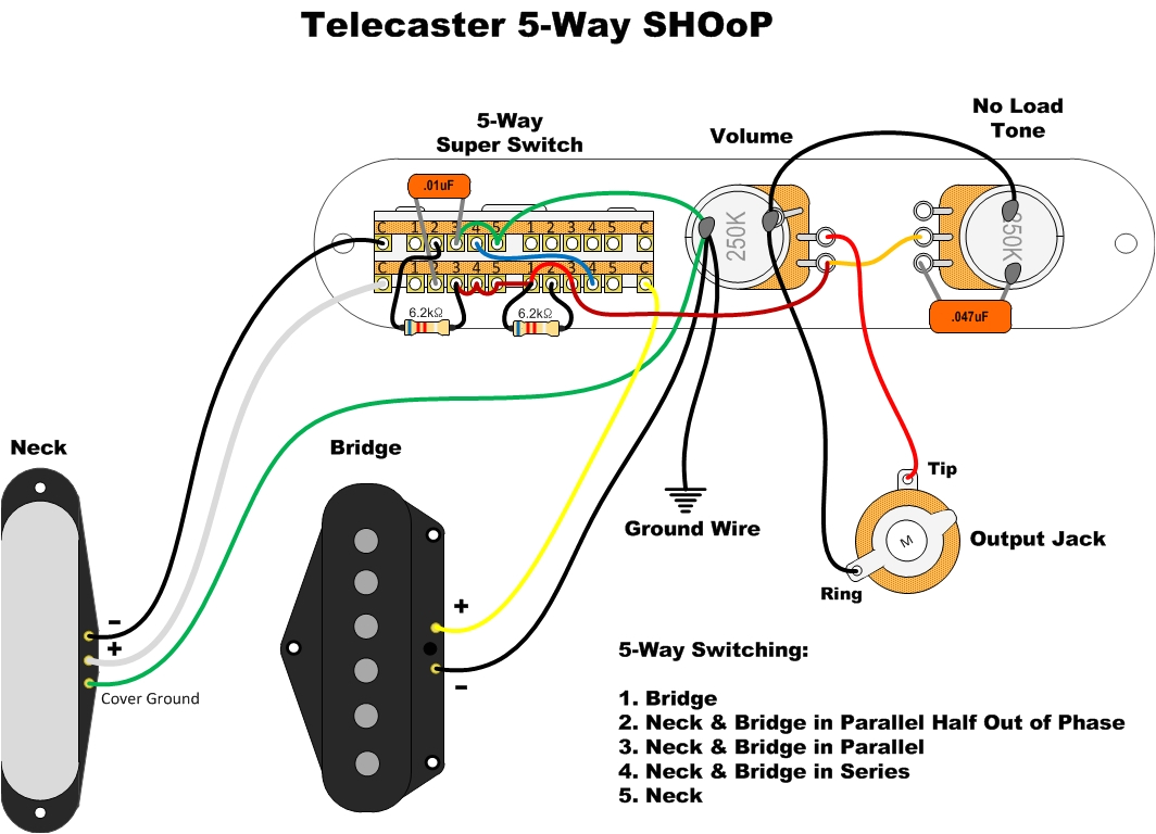 if you have both of our big t pickups you can use a 5 way super switch made by fender for some awesome sounds in addition to the three normal tele sounds