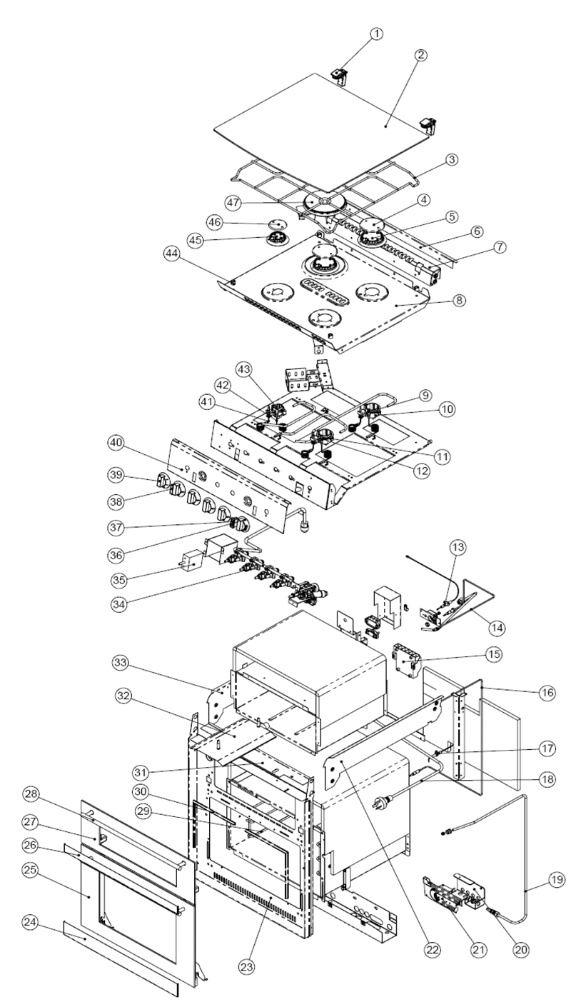 spare parts diagram spinflo caprice mk3 stove grill oven gas electric
