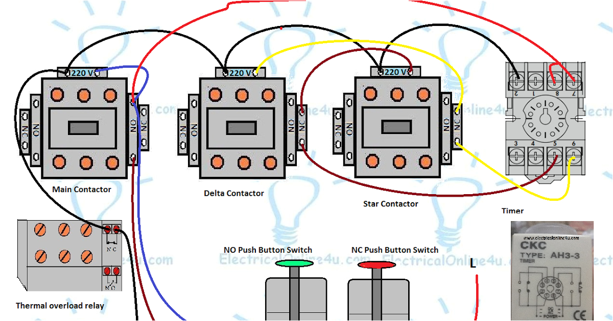 3 phase motor star delta control circuit diagram with 8 pin on delay timer normally open and normally close push button switches