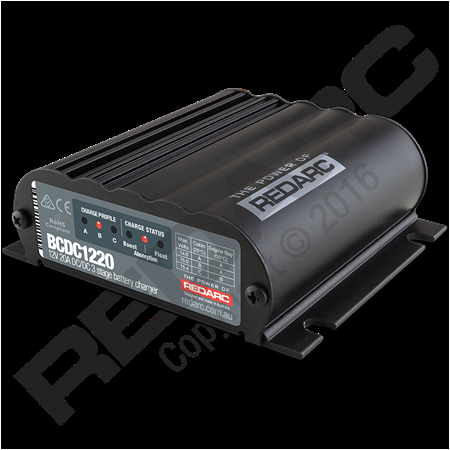 the redarc bcdc1220 is a 12v 20a in vehicle dc to dc charger designed to keep your battery charged whilst driving featuring multi stage battery charging