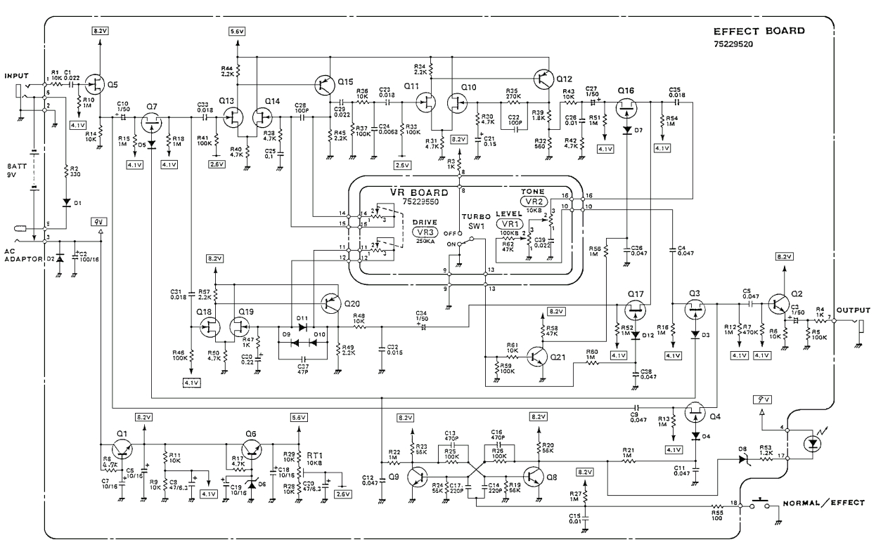 boss od 2 turbo overdrive pedal schematic diagram
