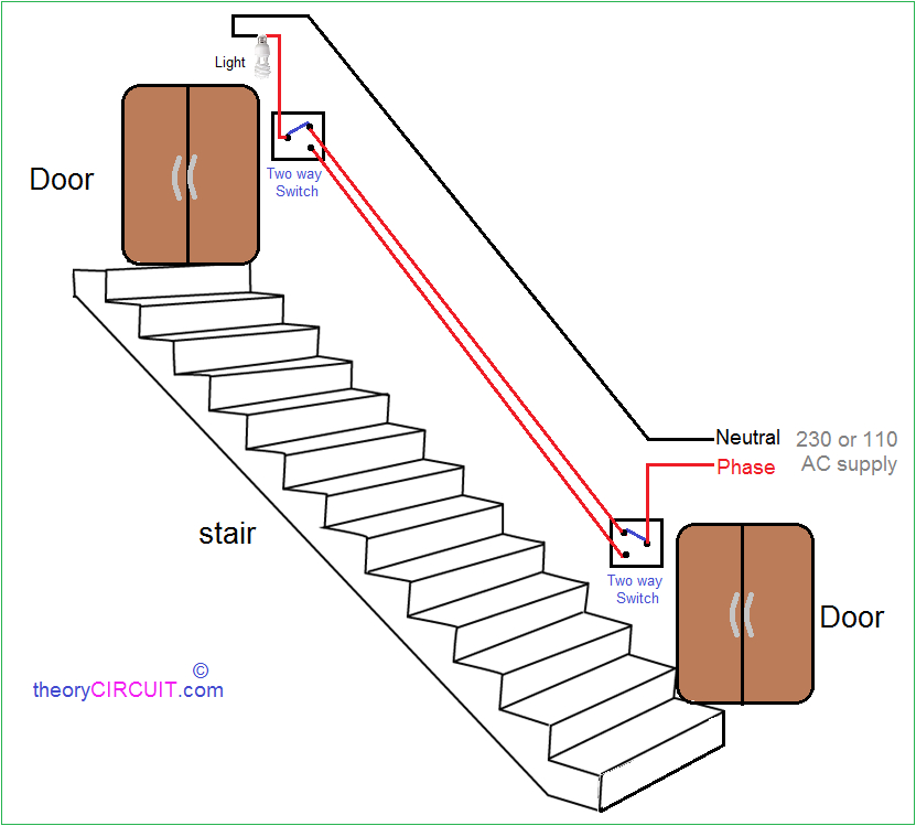 two way light switch connection wiring diagram for stairs lighting
