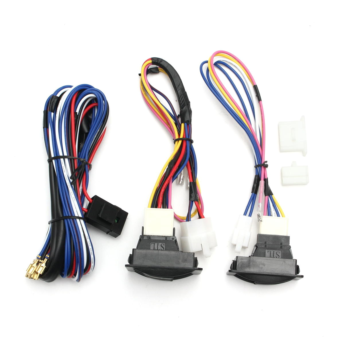 6pcs 12v universal power window switch kits with installation wiring harness cod