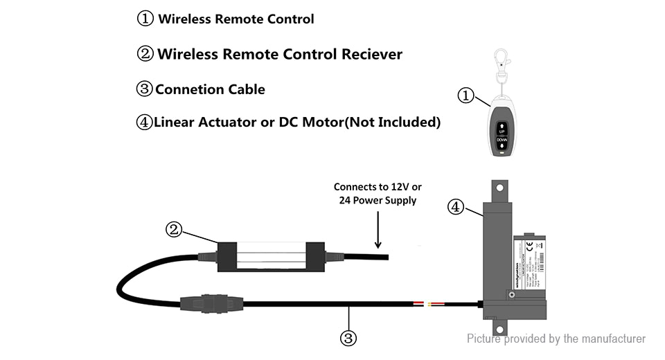 dc motor linear actuator wireless remote control up down stop dpdt switch