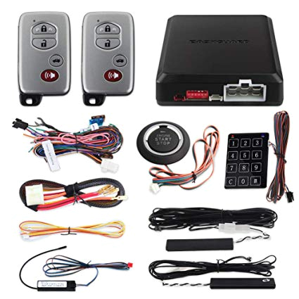 amazon com easyguard ec002 t smart key pke car alarm system auto start starter push start stop button touch password access keyless go system dc12v rolling