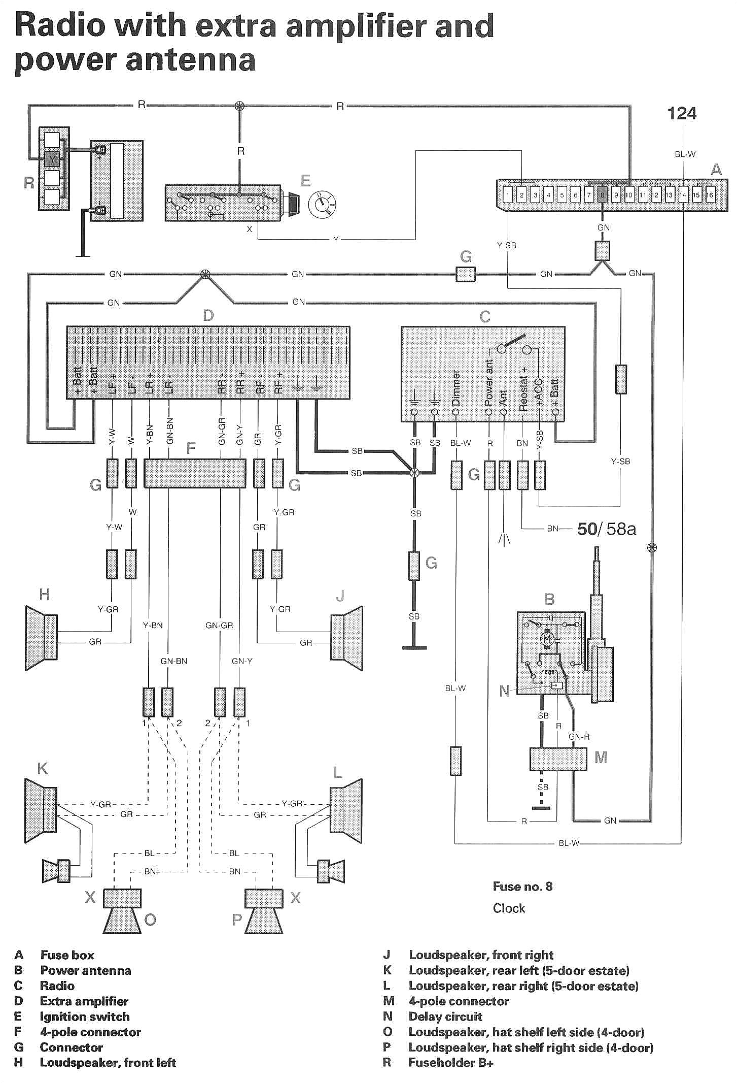 volvo 850 93 1993 car radio wire harness for wiring new stereo volvo 850 radio wiring harness diagram