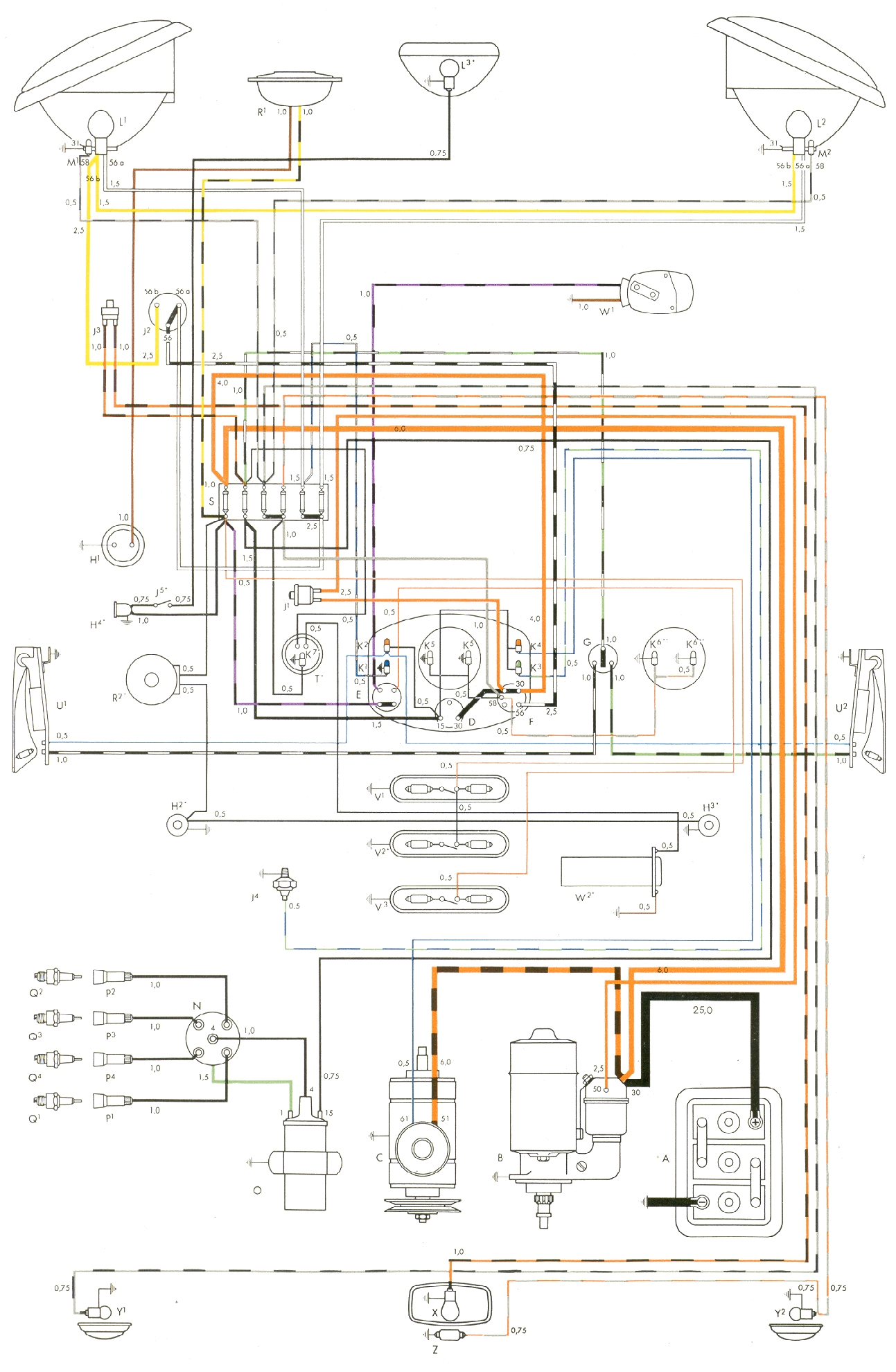vintagebus com vw bus and other wiring diagrams mix 73 vw bug signal wiper