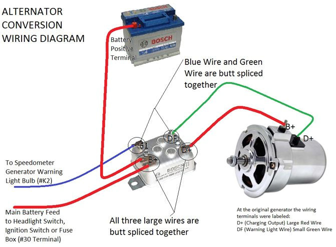 Vw Voltage Regulator Wiring Diagram Alternator Conversion Instructions Vw Vw Beetles Vw Parts