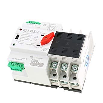 gaeyaele w2r 3p din rail mounted automatic transfer switch three phase ats 100a power transfer switch w2r 3p 16a amazon com industrial scientific