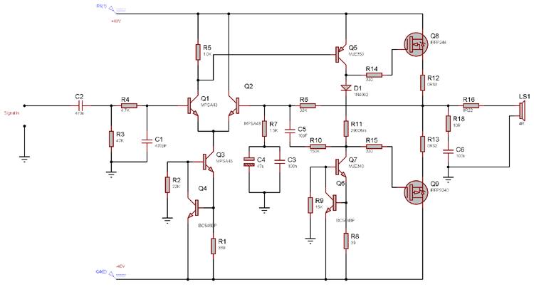 100 watt power amplifier circuit diagram using mosfet 100 watt power amplifier circuit using mosfet