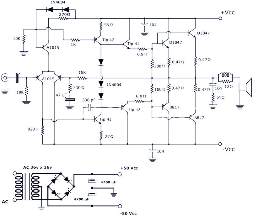 this is a 200w power amplifier circuit project the circuit features high power audio amplifier circuit diagram 100 watts into a 4 ohms