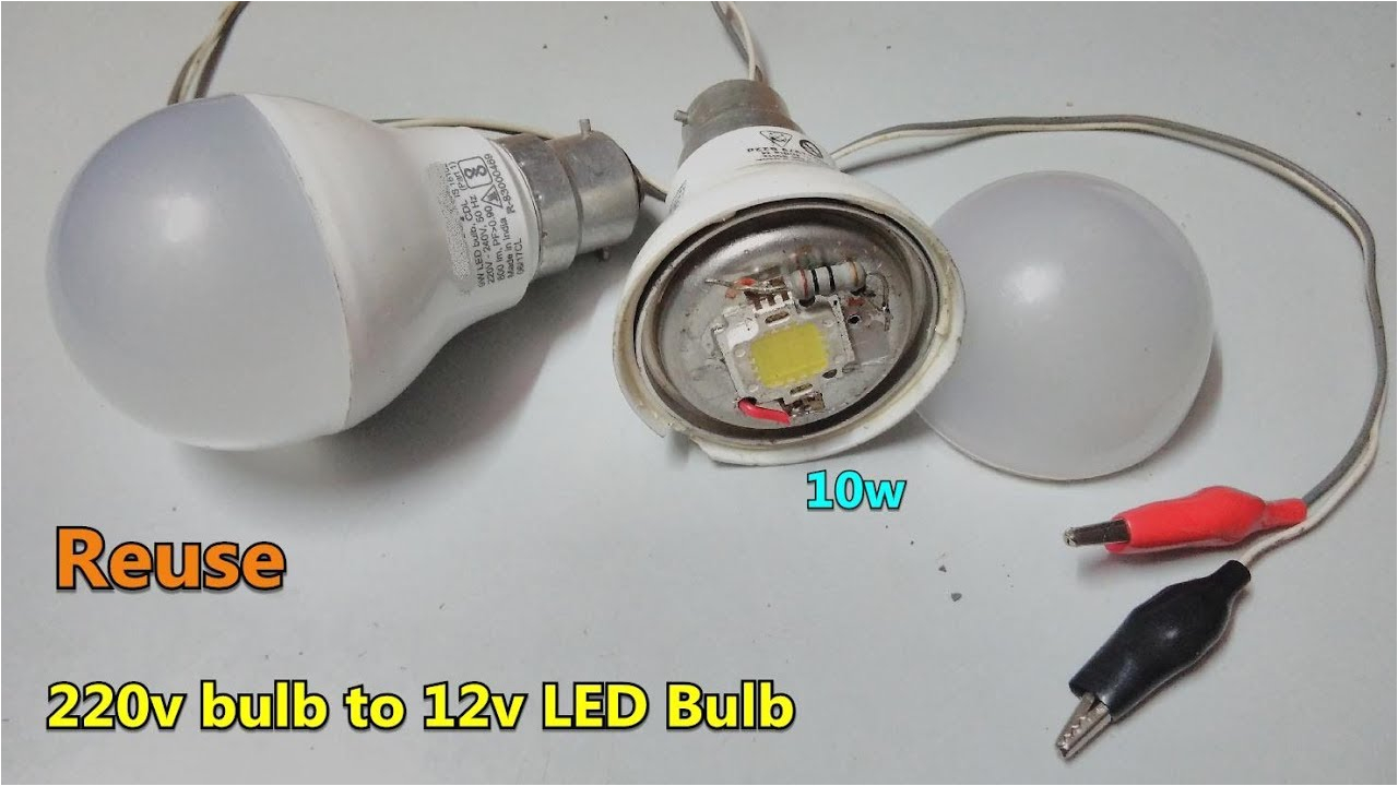 reuse fused ac led bulb to 12v dc 10w led bulb directly battery connector