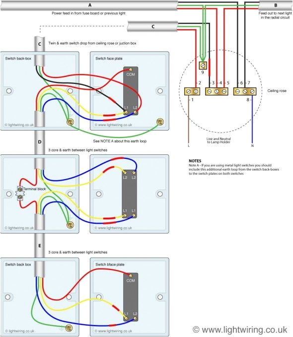 three way light switching old cable colours light wiring