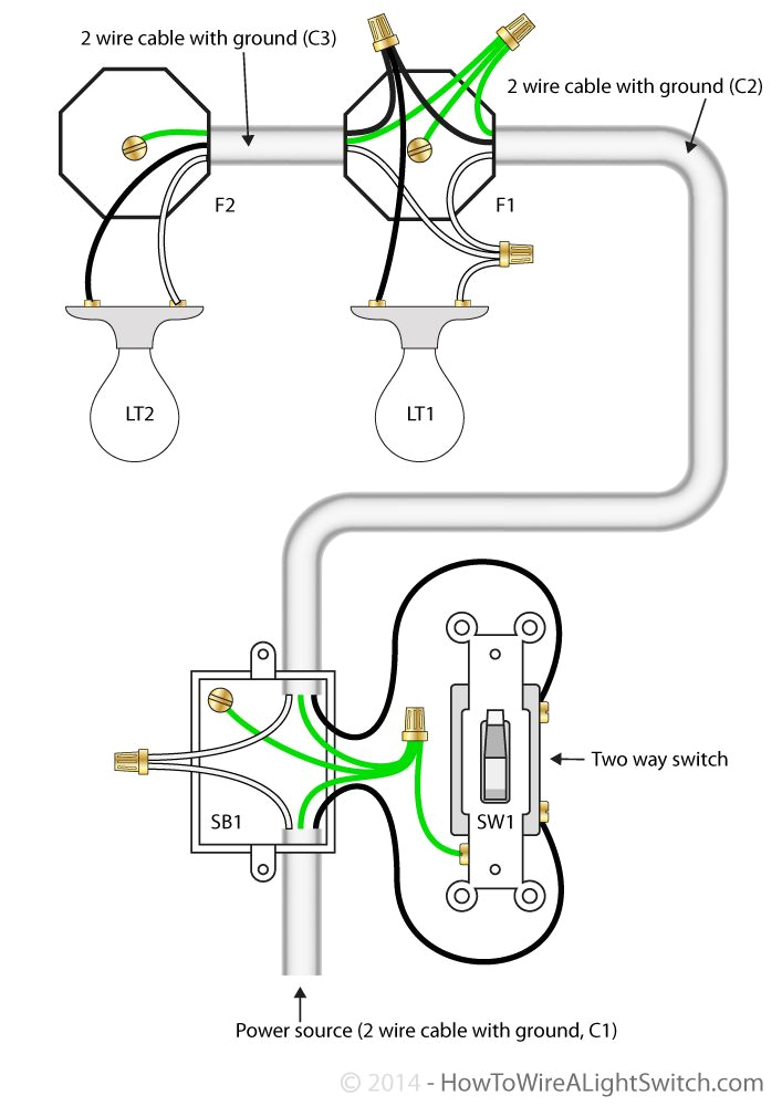 2 way switch with power feed via switch multiple lights how to house wiring multiple light switches