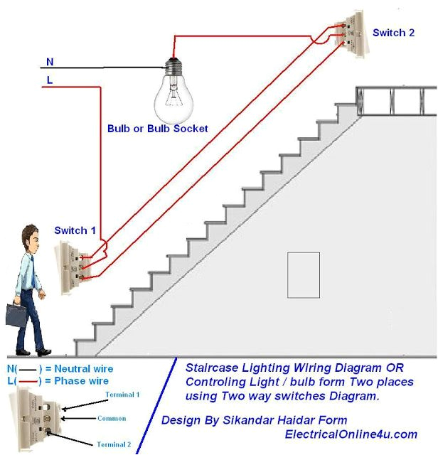 two way light switch diagram u0026 staircase wiring diagram home