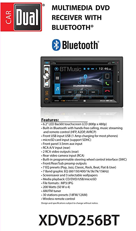 amazon com dual xdvd256bt digital multimedia 6 2 led backlit lcd touchscreen double din car stereo with built in bluetooth cd dvd usb microsd mp3