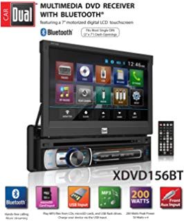 dual electronics xdvd156bt multimedia retractable detachable 7 inch led backlit lcd touchscreen single din