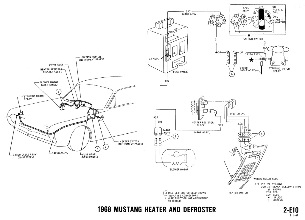 1968 mustang wiring diagram heater defrost
