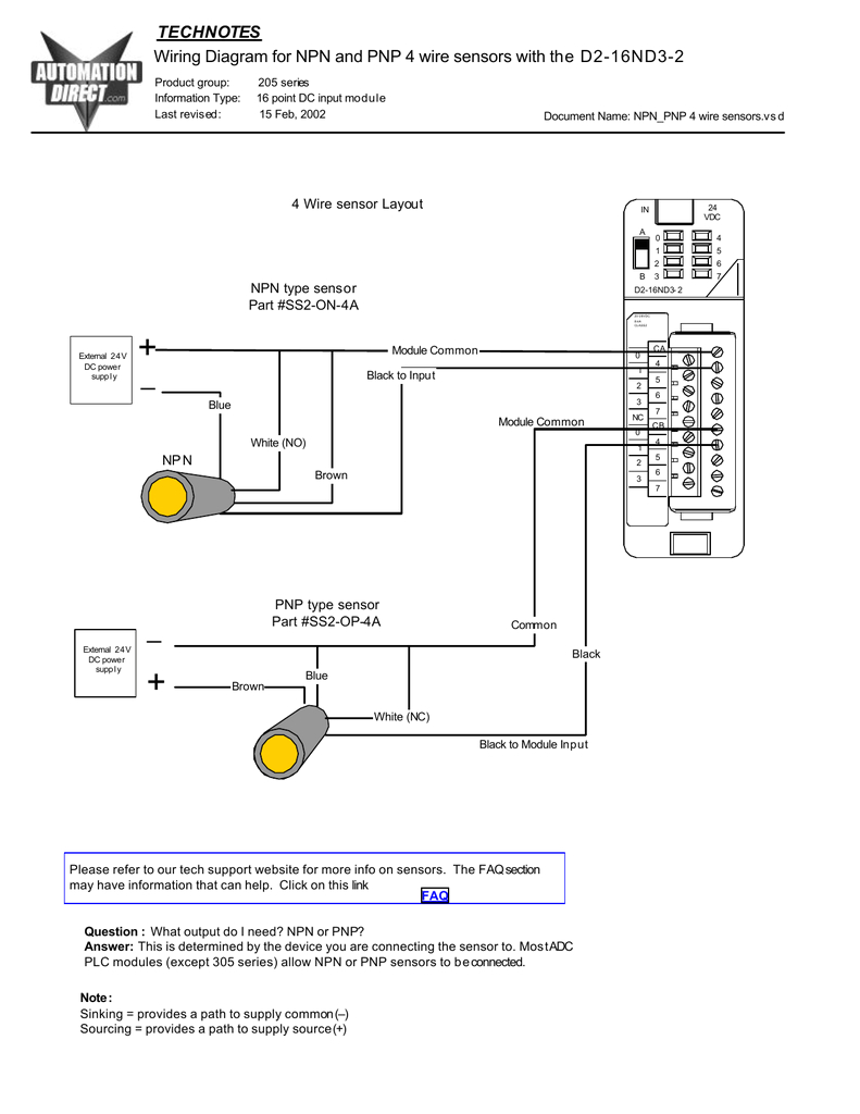 wiring diagram for npn and pnp 4 wire sensors and d2 16nd3 2 4 wire proximity sensor diagram 4 wire proximity diagram