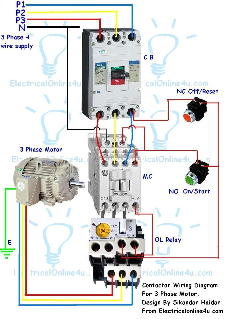 contactor wiring guide for 3 phase motor with circuit breaker contactor relay box wiring