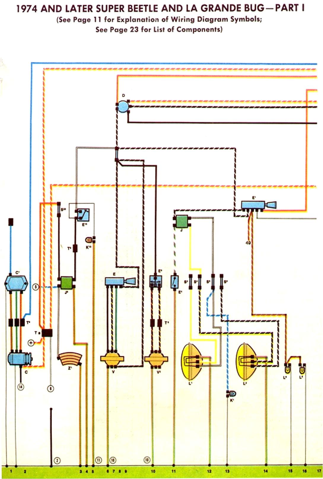 1974 75 super beetle wiring diagram thegoldenbug com fuse box wiring diagram for 1974 super beetle