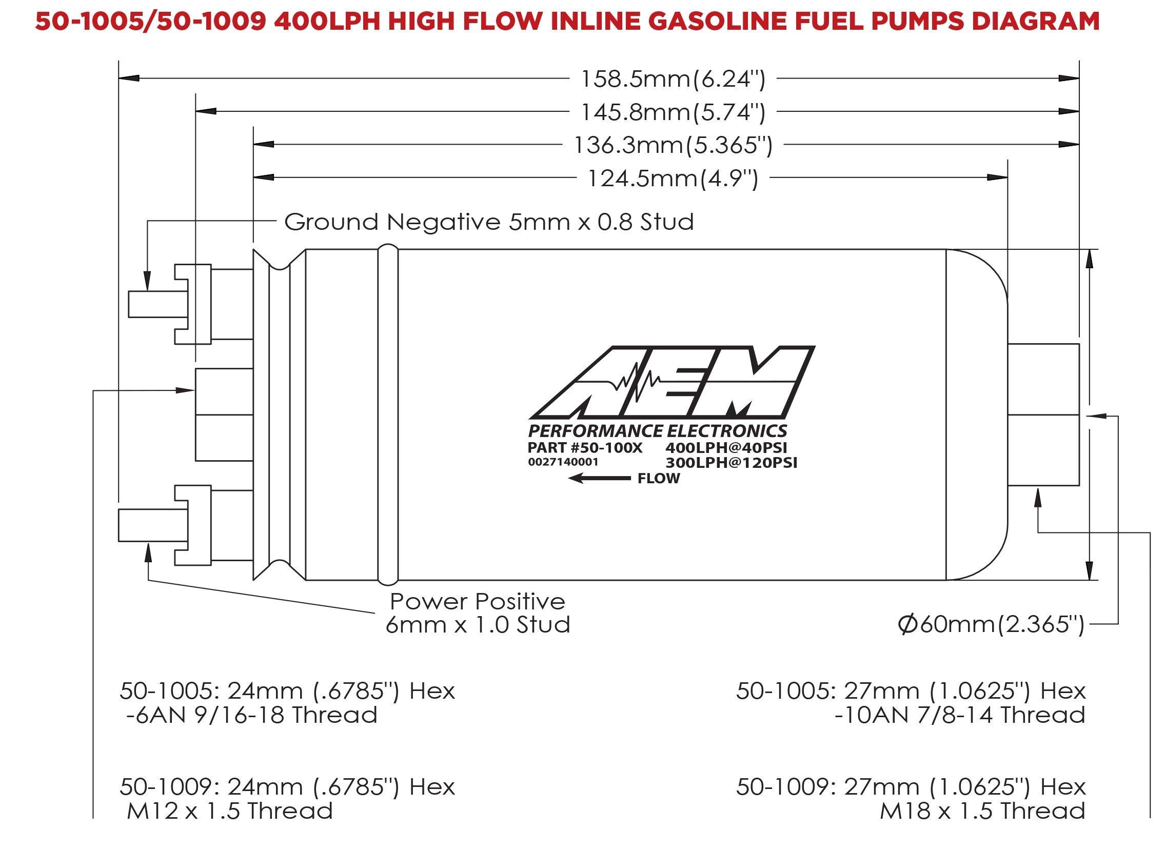 Aem Air Fuel Ratio Gauge Wiring Diagram Aem 400lph High Flow In Line Fuel Pump 50 1005