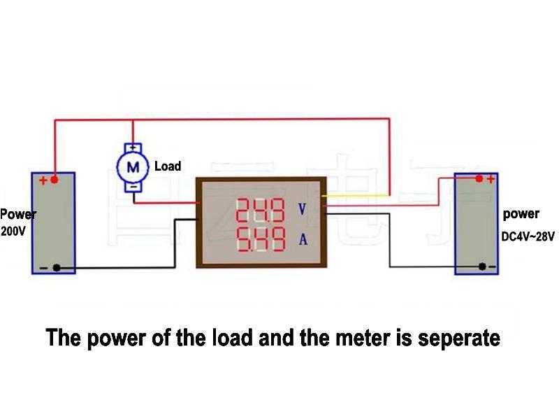 digital 4 bitdc 200v 0 10a voltmeter ammeter panel red blue led dual display shunt 12v 24vcar voltage current monitor tester