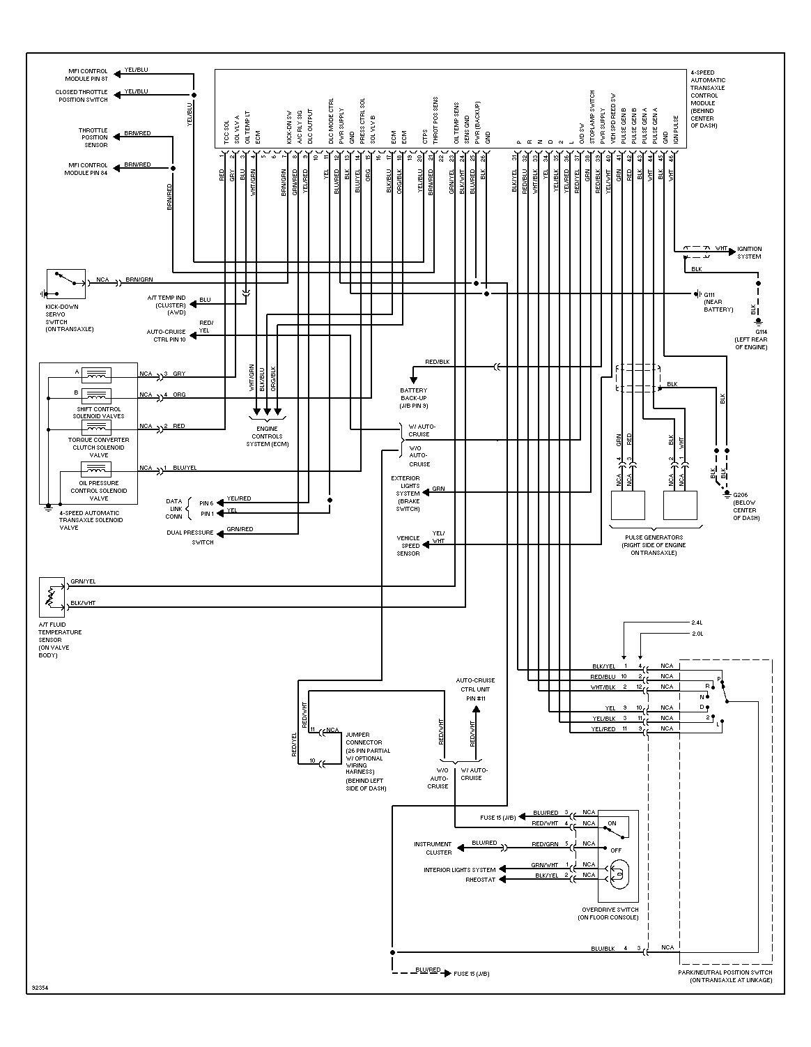 95 96 awd auto transmission wiring diagram