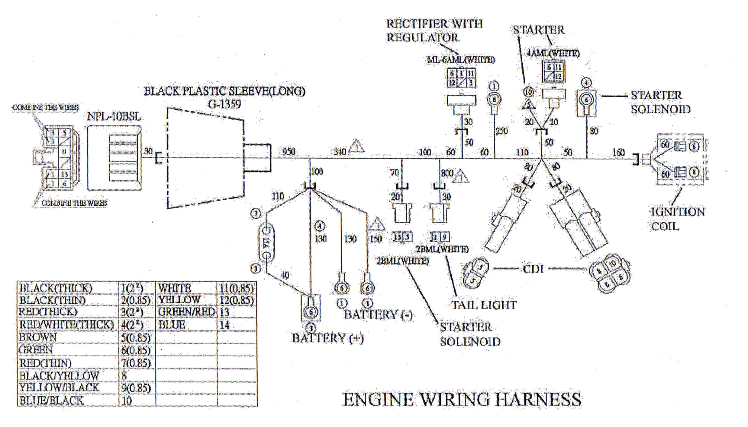 wiring diagram for the engine wiring harness to the yerf dog cuv