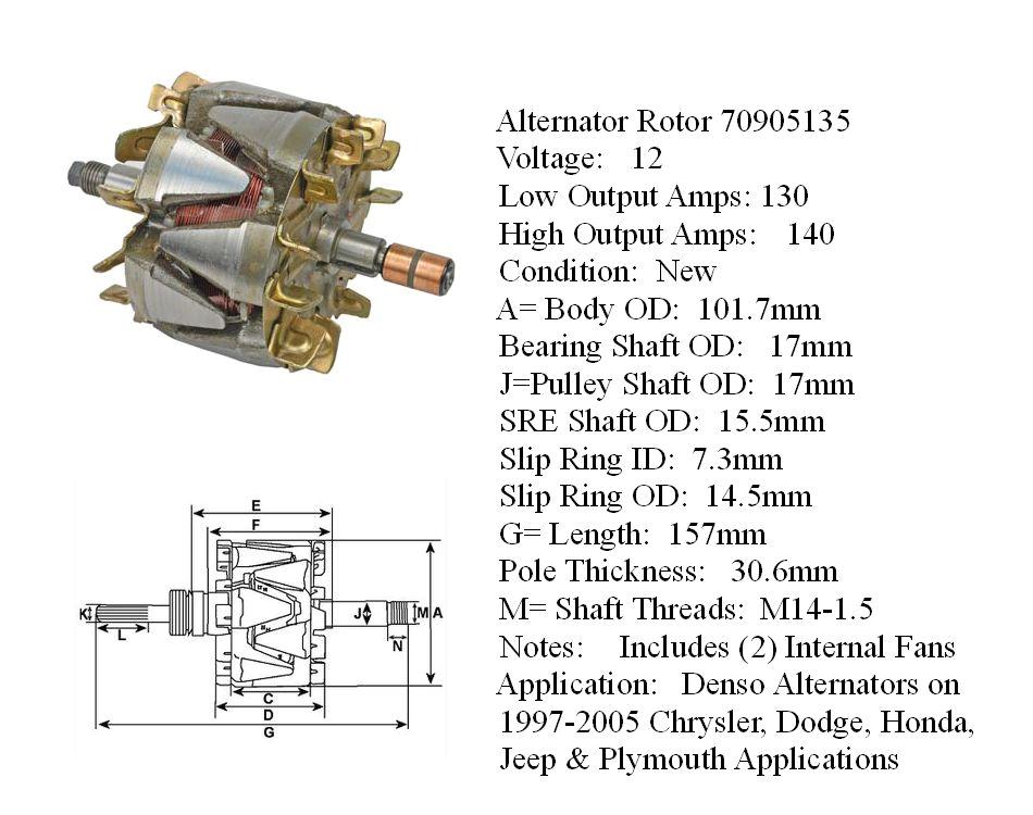 alternator armature denso alternators on chrysler dodge honda jeep plymouth applications