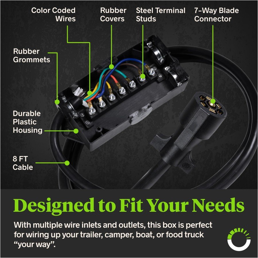 7 way trailer wiring junction box w 8ft cable accepspwr0087truck junction box wiring diagram 21
