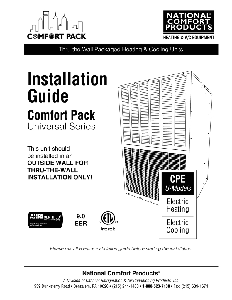 installation guide national comfort products