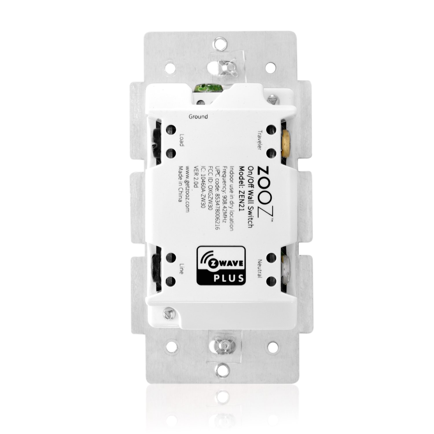 zooz z wave plus on off light switch zen21 ver 2 0 back view