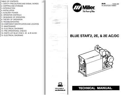miller blue star 2 2e 2e ac dc service technical manual