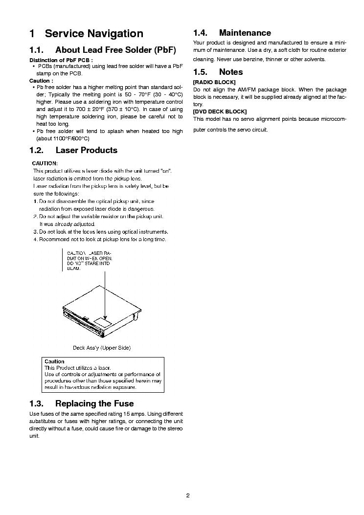 panasonic cq vx100u service manual 2nd page