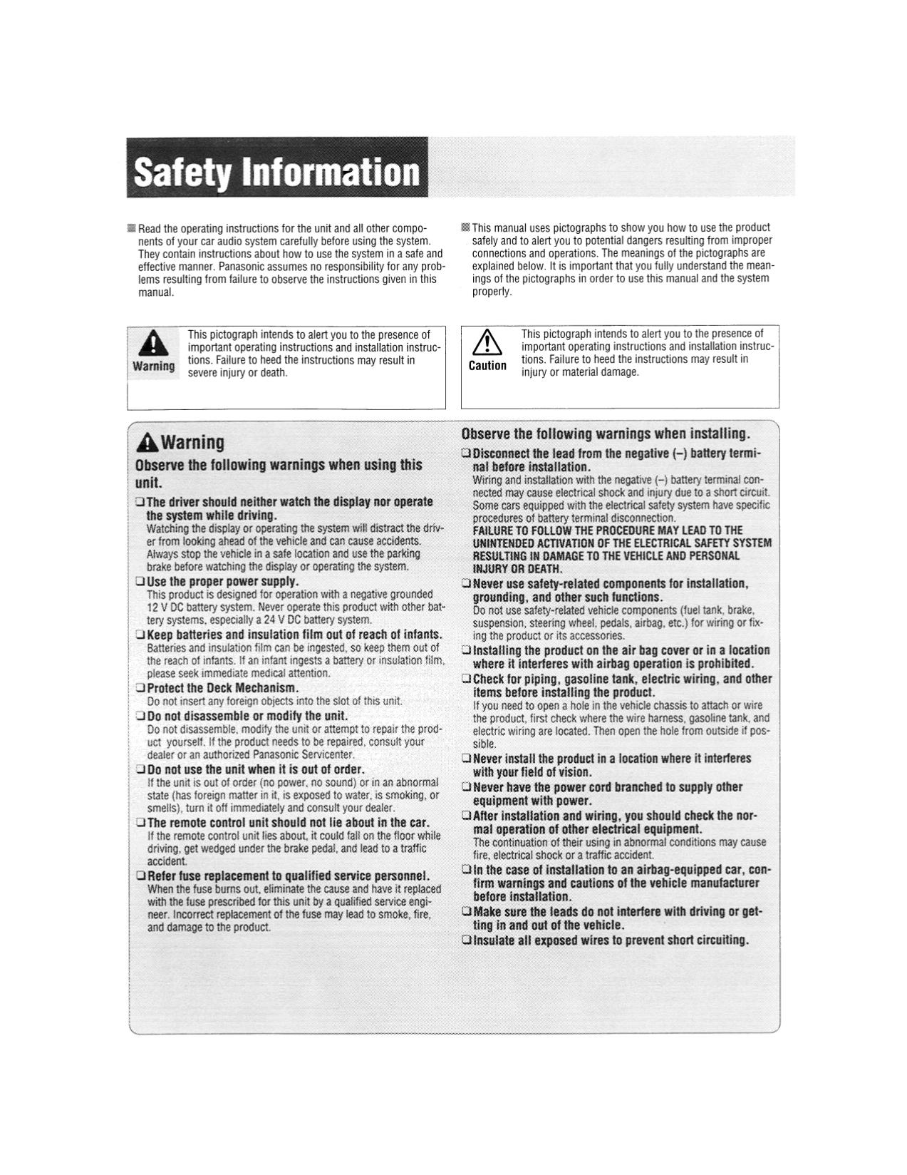 panasonic car receiver cq c1121u pdf page preview pdf manual