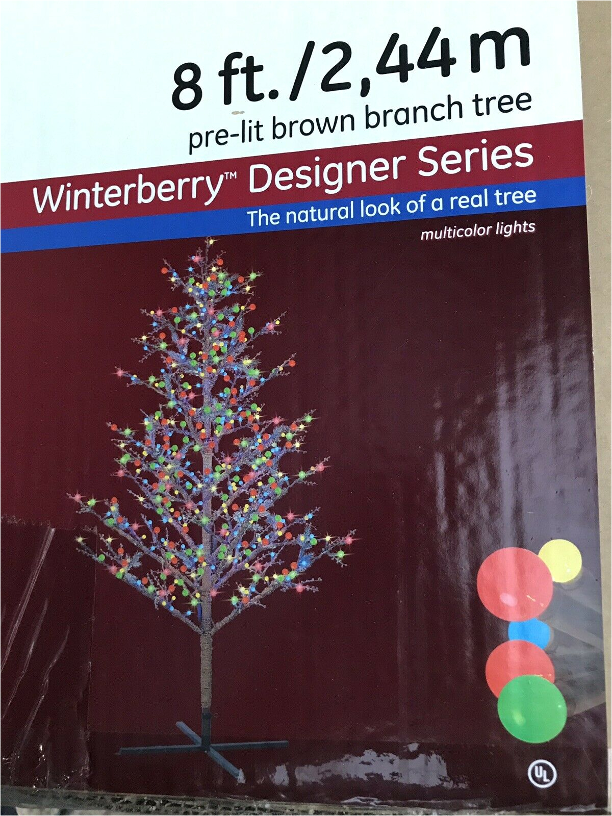 ge 8ft winterberry durable colorful christmas tree with led lights for sale online ebay