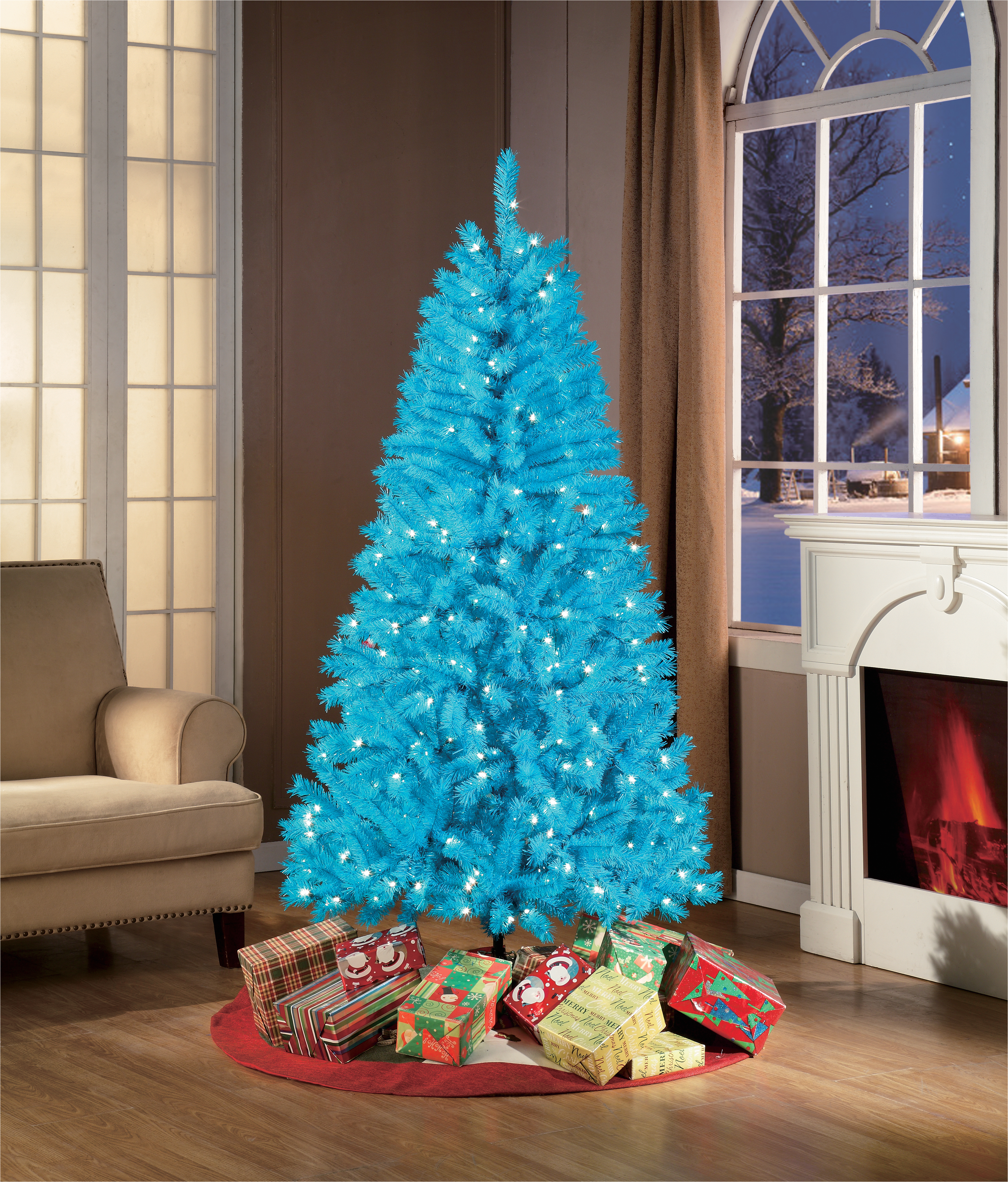 holiday time 6ft pre lit teal blue christmas tree