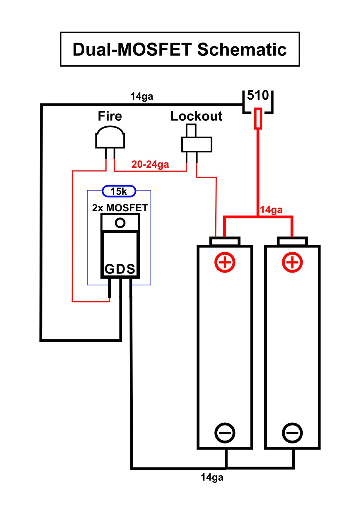 diy box mod dual 18650 parallel dual mosfet schematic