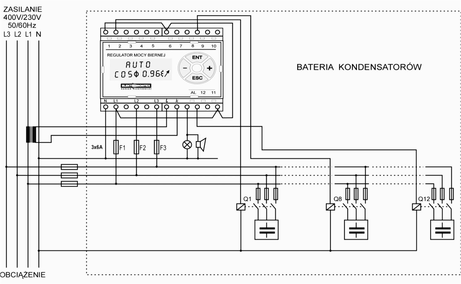 wiring scheme of power factor regulator rmb 10 6