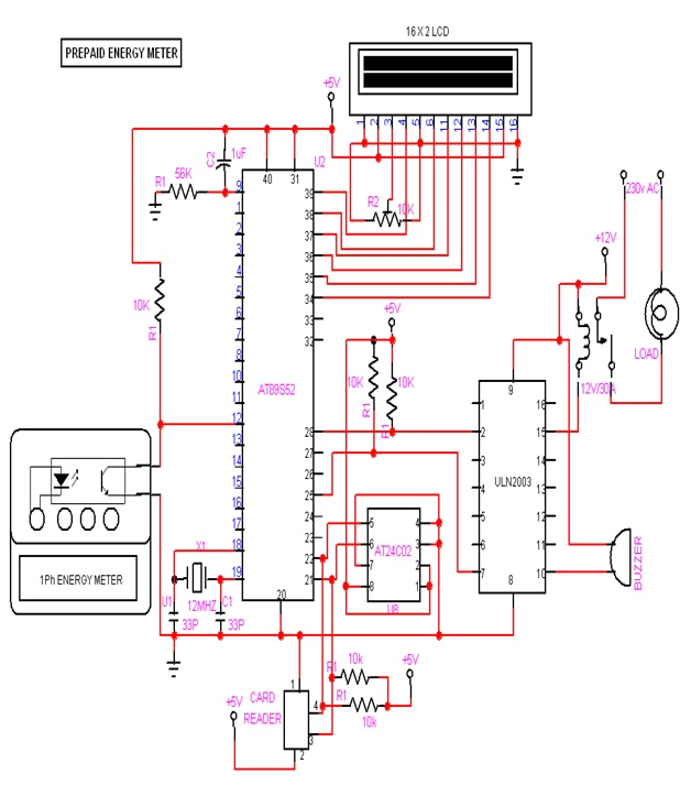 pre paid energy meter using gsm circuit diagram eceprojects pre paid energy meter using gsm circuit